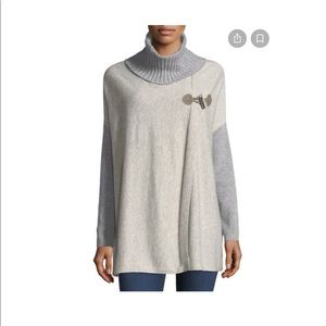 Cashmere toggle front gray poncho from Raffi